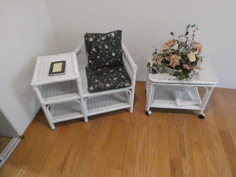 Lot # 59- Wicker bed set: twin size bed, chair/ table combo and end table (main image)
