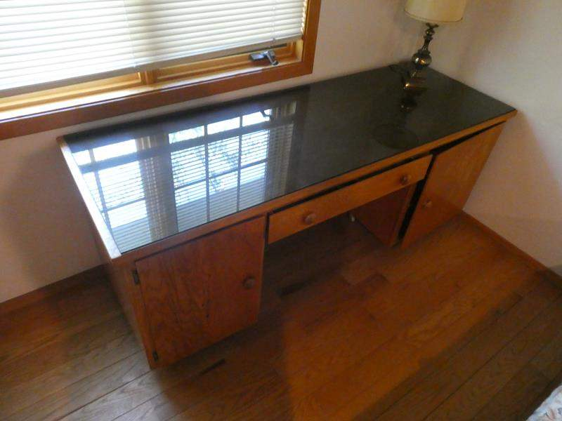 Lot # 60- Mid- century Desk with glass top and lamp (main image)