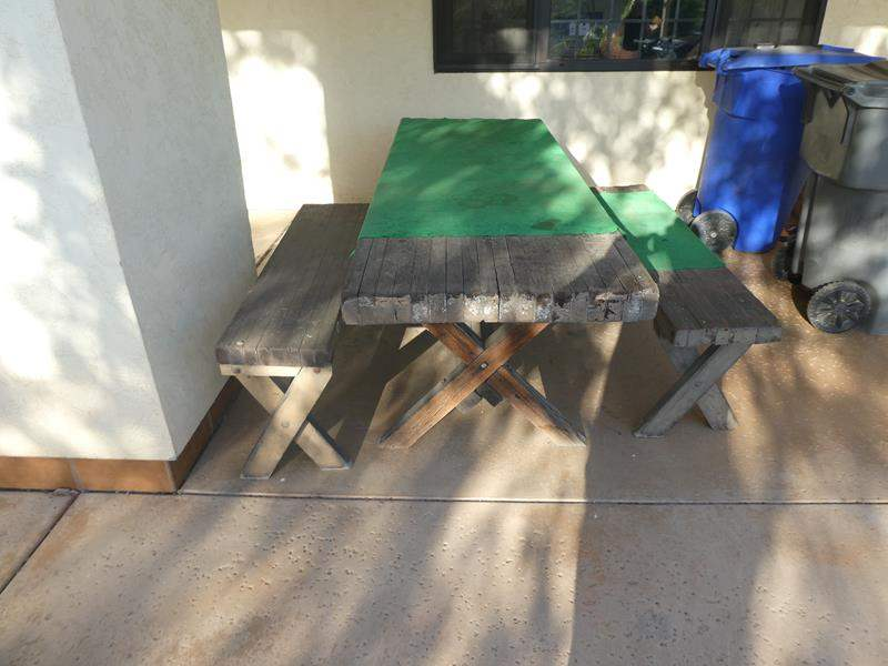 Lot # 306-Rustic wood picnic table and benches  (main image)