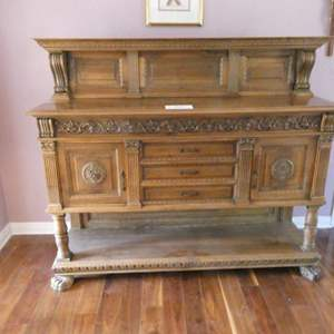 Lot # 106-  Beautiful Antique wood hutch (living room)