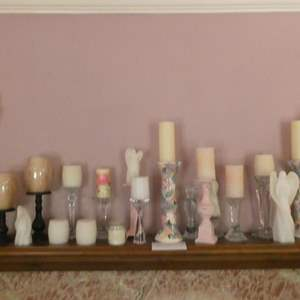 Lot # 107- Fireplace mantle decorations. Crystal, metal, candles, and more