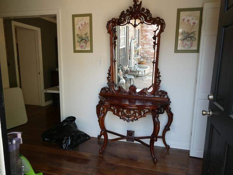 Lot # 1-Beautiful vintage cherry wood vanity, entryway mirror/ hutch (main image)