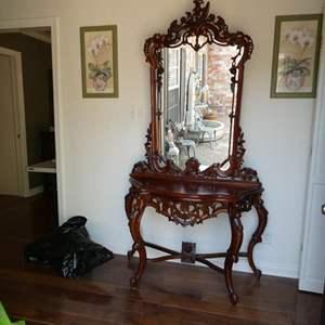Lot # 1-Beautiful vintage cherry wood vanity, entryway mirror/ hutch