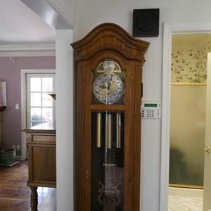 Lot # 2- Solid wood Grandfather Clock with key