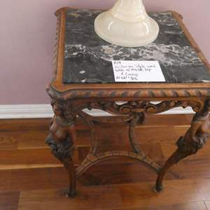 Lot # 109- Victorian style wood table with marble top and lamp