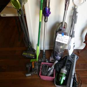 Lot # 3- Cleaning Time! Shark vacuum with attachments (used), Swiffer, and more!