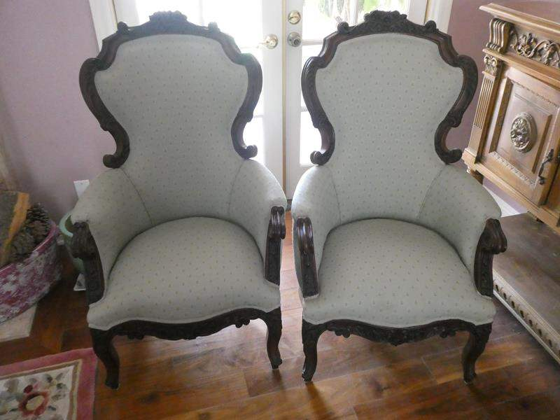 Lot # 110- Two vintage Victorian wing back chair.  (main image)