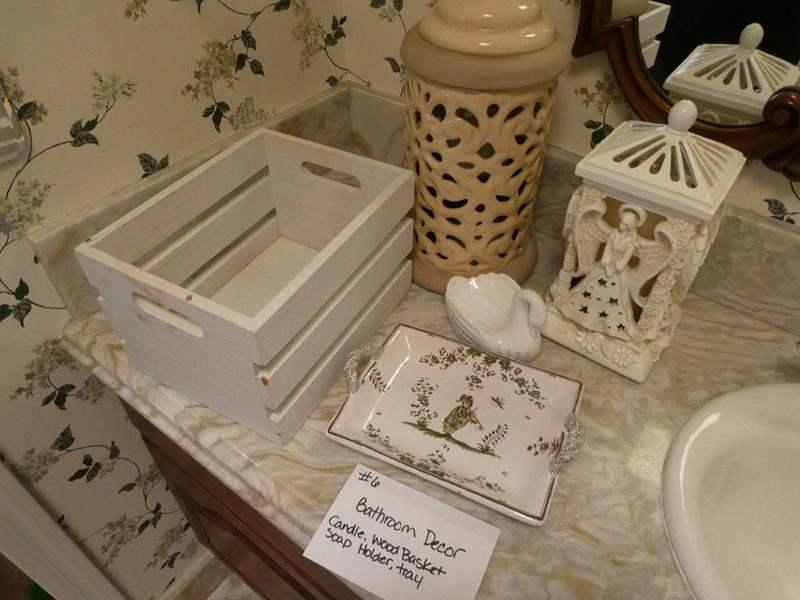 Lot # 6-Bathroom decor: Candle, wood basket, soap holder, ceramic tray, and chandelier night light (main image)