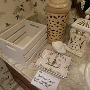 Lot # 6-Bathroom decor: Candle, wood basket, soap holder, ceramic tray, and chandelier night light
