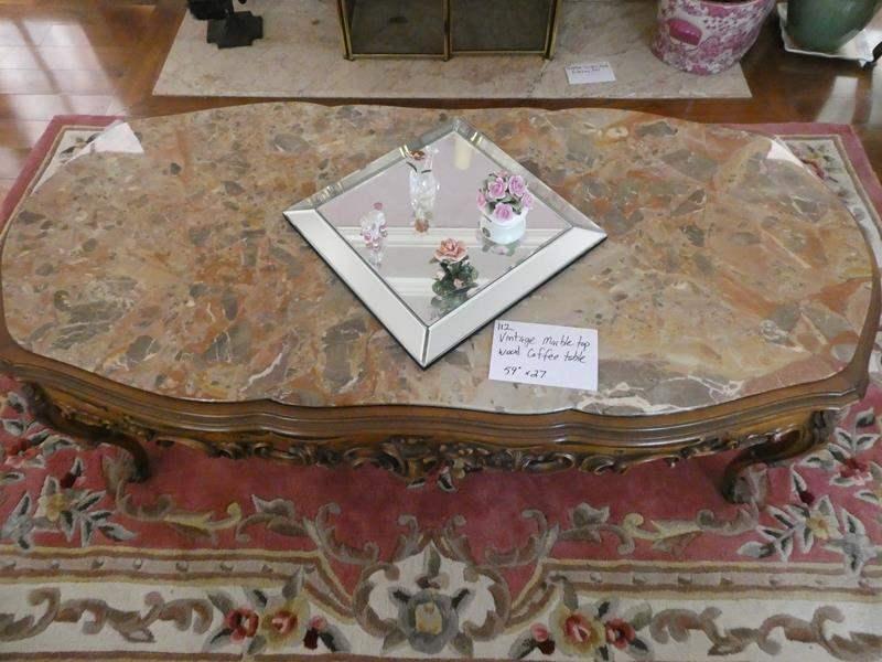 Lot # 112- Vintage marble top wood coffee table (main image)
