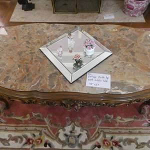 Lot # 112- Vintage marble top wood coffee table