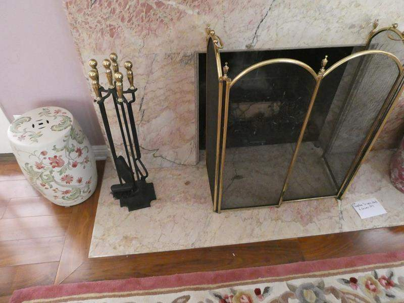 Lot # 108- Fireplace screen, tools and ceramic pots (main image)
