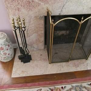 Lot # 108- Fireplace screen, tools and ceramic pots