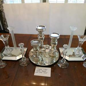 Lot # 7-Crystal candle holders, Silver colored candle holders, and decorative mirror plates