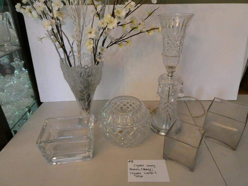 Lot # 8- Crystal candy dishes (heavy) Old fashion style crystal lamp and vase (main image)