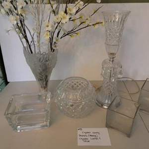 Lot # 8- Crystal candy dishes (heavy) Old fashion style crystal lamp and vase