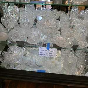 """Lot # 10-More Crystal! Some """"Waterford"""" Large pieces! Two full shelves"""