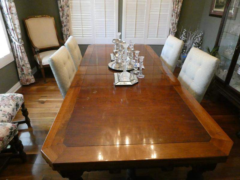 Lot # 12-Vintage Beautiful Solid wood dining table with 4 cloth chairs  (main image)