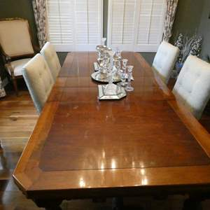 Lot # 12-Vintage Beautiful Solid wood dining table with 4 cloth chairs