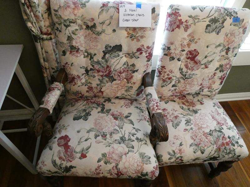 Lot # 15- Two Vintage floral wood and cloth chairs (main image)