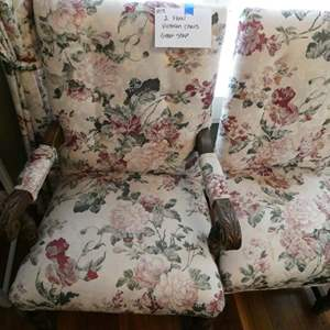 Lot # 15- Two Vintage floral wood and cloth chairs