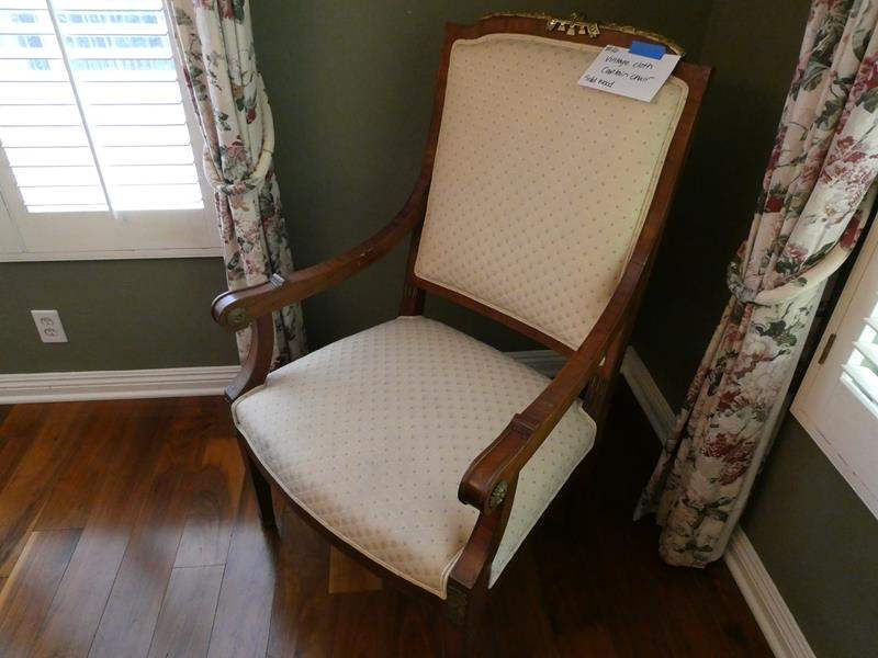 Lot # 16-Vintage cloth captain chair- solid wood with Cream colored cloth  (main image)