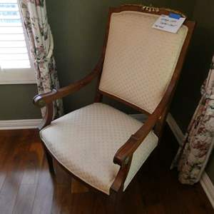 Lot # 16-Vintage cloth captain chair- solid wood with Cream colored cloth