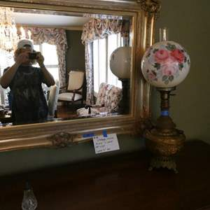Lot # 18-Vintage, ornate mirror and lamp