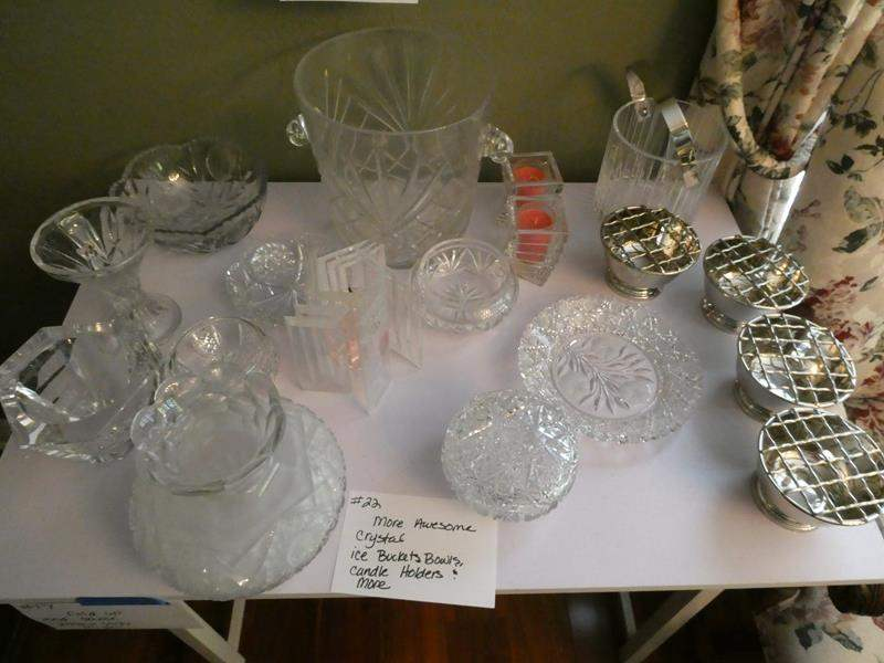 Lot # 22-Beautiful crystal! Ice buckets, bowls, candle holders and much more! (main image)
