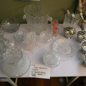 Lot # 22-Beautiful crystal! Ice buckets, bowls, candle holders and much more!