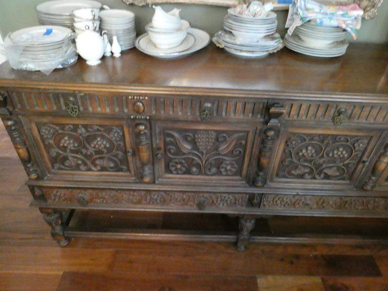 Lot # 23-Vintage, rustic, dinning hutch. Beautiful detail in the wood. Dishes not included (main image)