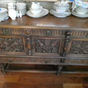 Lot # 23-Vintage, rustic, dinning hutch. Beautiful detail in the wood. Dishes not included