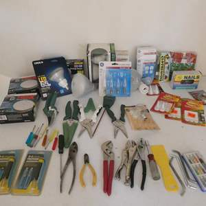 Lot # 124- Gardening tools and light bulbs