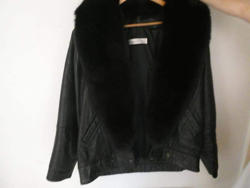 """Lot # 131- Black Leather women's jacket with fur collar by """"Andrew Marc"""" size medium (main image)"""