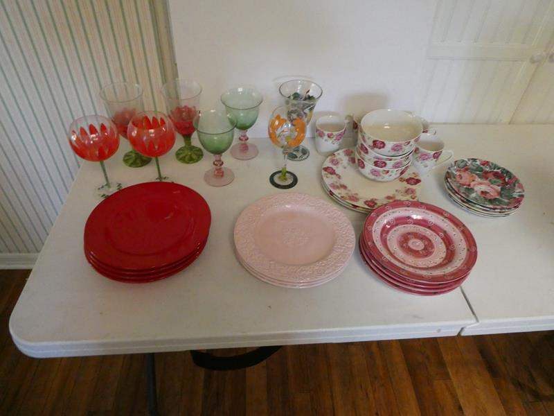 Lot # 30-Hand painted wine glasses. Several pattern dishes. Pink, red, and floral prints. Whole cupboard of wine glasses (main image)