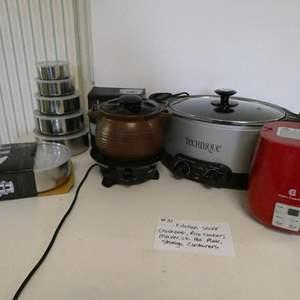 Lot # 31- Crock-pot, rice cooker, maverick hot plate, storage containers