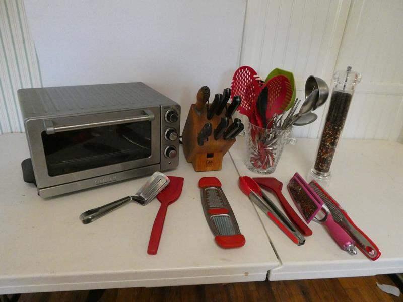 Lot # 33-Cuisinart toaster oven, knife block, kitchen utensils, and pepper shaker (main image)