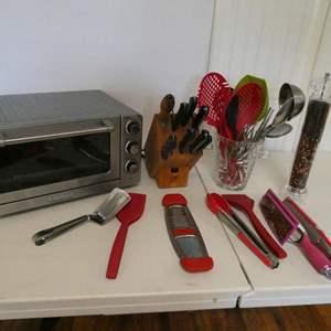 Lot # 33-Cuisinart toaster oven, knife block, kitchen utensils, and pepper shaker
