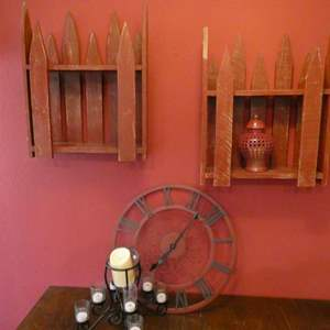 Lot # 37- Cute rustic home decor- Red fence shelves, black and red wall clock, candles, and vase