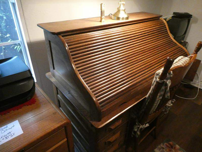 Lot # 144- Roll top desk with wood chair (main image)