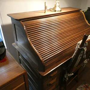 Lot # 144- Roll top desk with wood chair