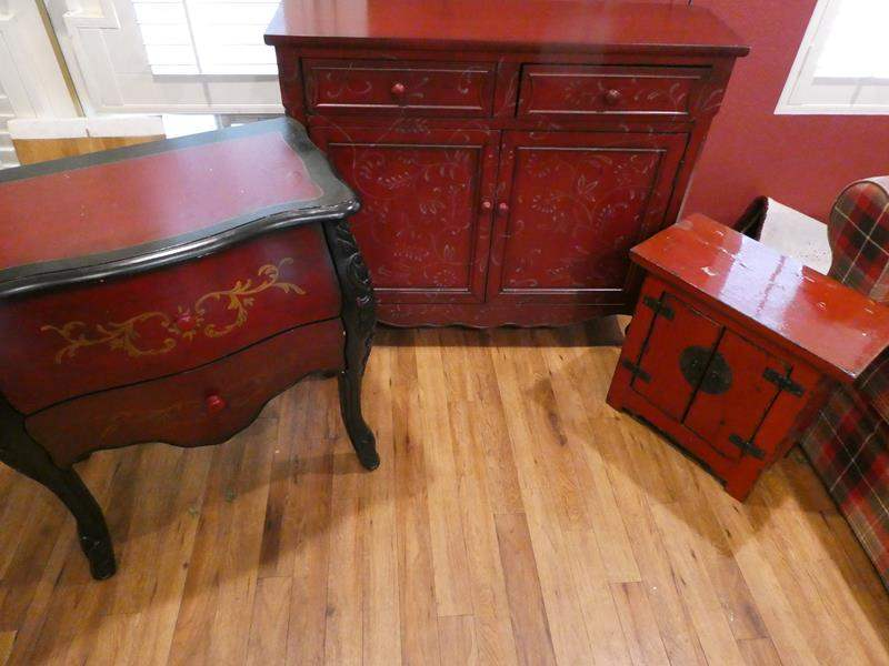 Lot # 41- Vintage, rustic, deep red furniture. End table, accent table, TV stand or buffet table (main image)