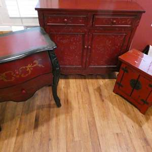 Lot # 41- Vintage, rustic, deep red furniture. End table, accent table, TV stand or buffet table