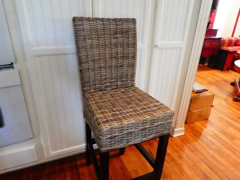 Lot # 46- Tall wicker chair (bar-stool size)  (main image)