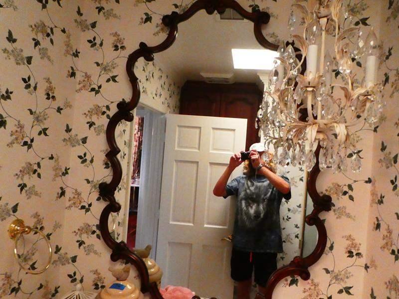 Lot # 51- Vintage wood vanity mirror (bathroom) (main image)