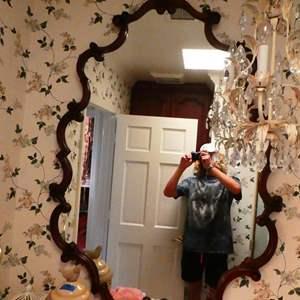 Lot # 51- Vintage wood vanity mirror (bathroom)