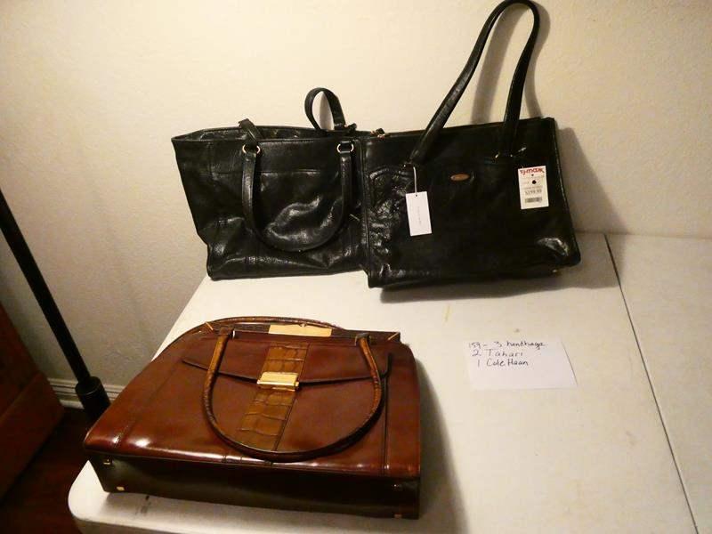 Lot # 159-3 nice hand bags, 2 Tahari, 1 Cole Hann (main image)