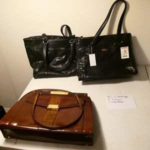Lot # 159-3 nice hand bags, 2 Tahari, 1 Cole Hann