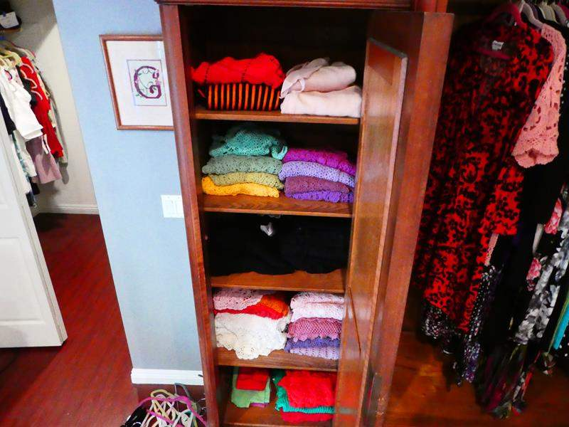 Lot # 213-Knit cardigans and sweaters, whole cupboard full in every color. (main image)