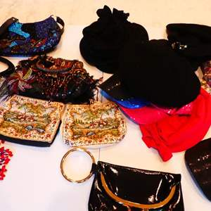 Lot # 215-Purses & hats, vintage, beads & much more.